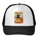 A Merry Halloween, Vintage Black Cat in Pumpkin Trucker Hat