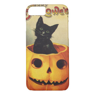A Merry Halloween, Vintage Black Cat in Pumpkin iPhone 7 Case