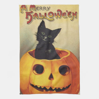 A Merry Halloween, Vintage Black Cat in Pumpkin Kitchen Towel
