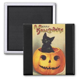 A Merry Halloween, Vintage Black Cat in Pumpkin Magnet