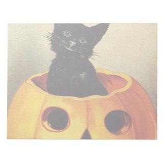 A Merry Halloween, Vintage Black Cat in Pumpkin Notepad