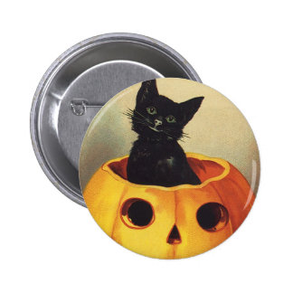 A Merry Halloween, Vintage Black Cat in Pumpkin Pinback Button