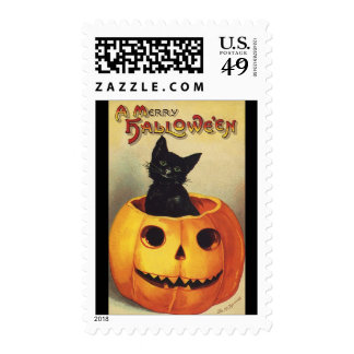 A Merry Halloween, Vintage Black Cat in Pumpkin Postage Stamp