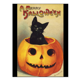A Merry Halloween, Vintage Black Cat in Pumpkin Postcard