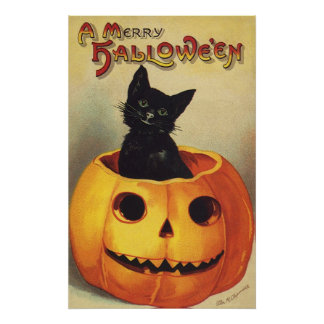 A Merry Halloween, Vintage Black Cat in Pumpkin Poster