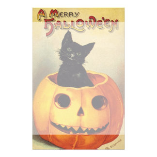 A Merry Halloween, Vintage Black Cat in Pumpkin Stationery