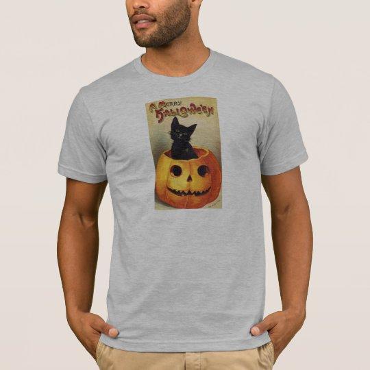 A Merry Halloween, Vintage Black Cat in Pumpkin T-Shirt