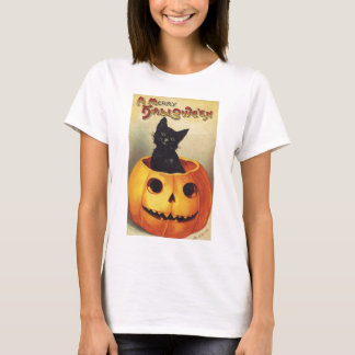 A Merry Halloween, Vintage Black Cat in Pumpkin T-Shirt