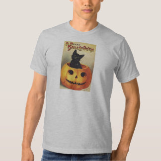 A Merry Halloween, Vintage Black Cat in Pumpkin Tee Shirt