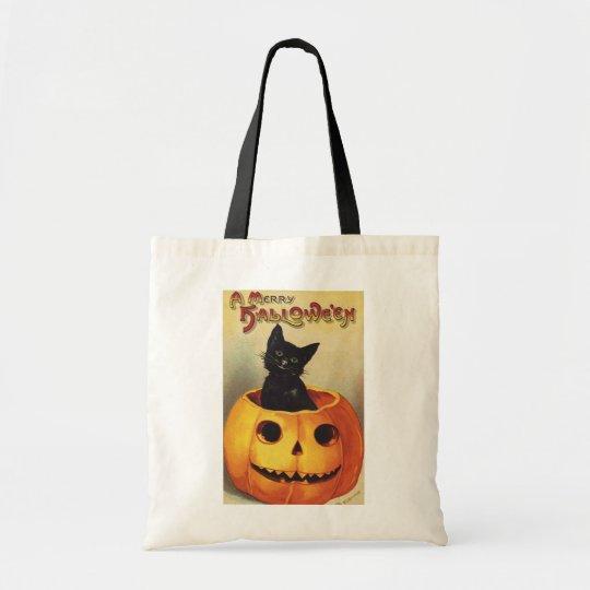 A Merry Halloween, Vintage Black Cat in Pumpkin Tote Bag