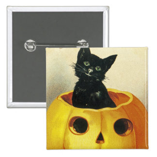 A Merry Haloween Kitten 2 Inch Square Button