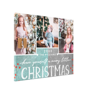 A Merry Little Christmas Family Photo Collage Canvas Print