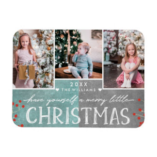 A Merry Little Christmas Family Photo Collage Magnet
