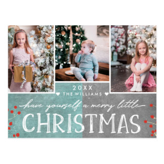 A Merry Little Christmas Family Photo Collage Postcard