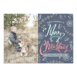 A Merry Little Christmas Holiday Photo Card Personalized Invitation