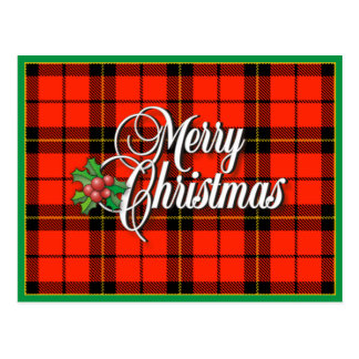 A Merry Plaid Christmas Postcard