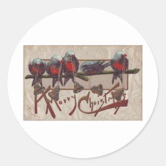 A Merry Xmas Birds Classic Round Sticker