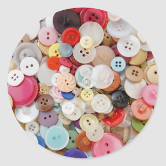 A Mess of Buttons Classic Round Sticker
