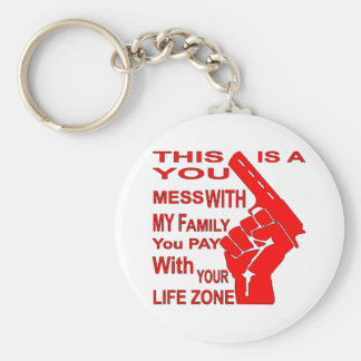 A Mess With My Family You Pay With Your Life Zone Keychain