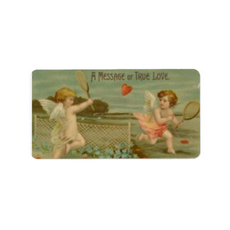 """""""A Message of Love"""" Vintage Tennis Playing Cupids Label"""