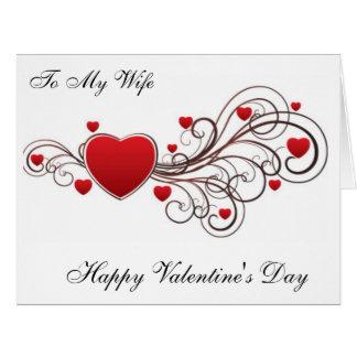 A mi el día de San Valentín feliz de la esposa Tarjeta De Felicitación Grande