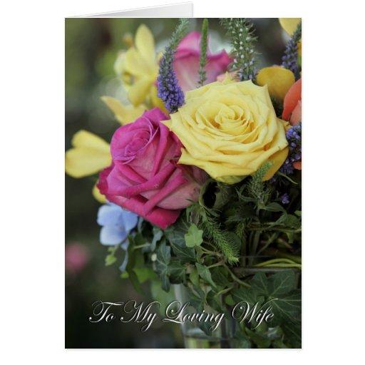 A mi esposa cariñosa (rosas coloridos) tarjeta de felicitación