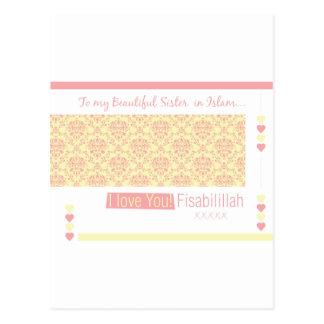 A mi hermana en el Islam - te amo fisabilillah Postal
