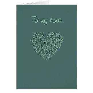 A mi tarjeta de dibujo del corazón del amor,