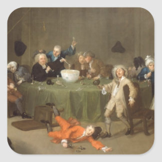 A Midnight Modern Conversation c 1732 oil on can Square Stickers