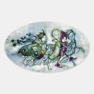 A Midsummer Night's Dream Fairies Oval Sticker