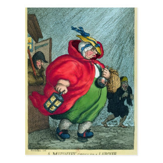 A midwife going to a labour, 1811 postcard