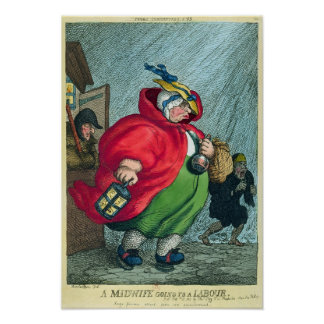 A midwife going to a labour, 1811 poster