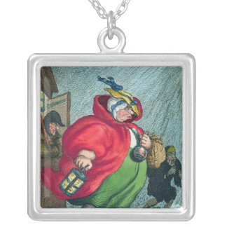 A midwife going to a labour, 1811 silver plated necklace