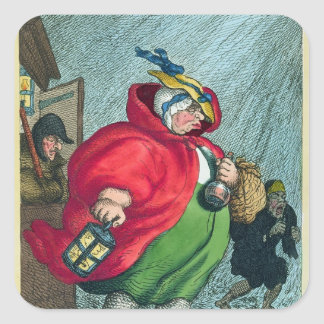 A midwife going to a labour, 1811 square sticker