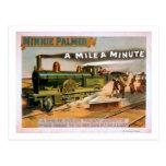 """A Mile a Minute"" Big Locomotive Train Theatre Postcard"