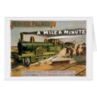 """A Mile a Minute"" Vintage Theatre Train Poster Card"