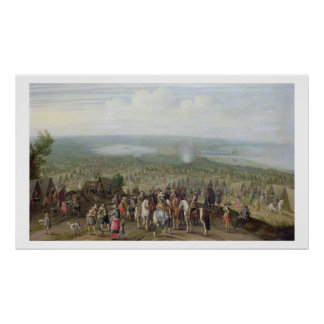A Military Encampment with Militia on Horses, Troo Poster