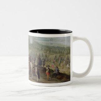 A Military Encampment with Militia on Horses, Troo Two-Tone Coffee Mug