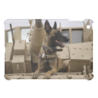 A military working dog sits on a M2A3 iPad Mini Case