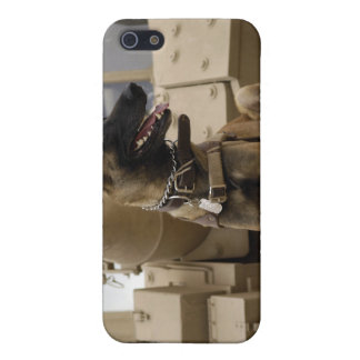 A military working dog sits on a M2A3 iPhone 5 Cover