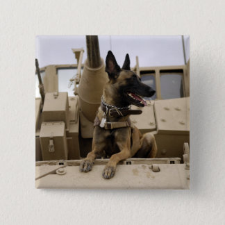 A military working dog sits on a M2A3 Pinback Button
