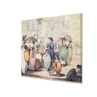 A Milliner s Shop published in 1787 hand coloure Stretched Canvas Prints