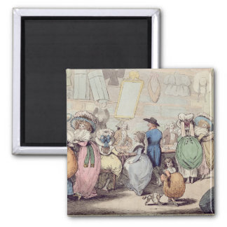 A Milliner's Shop, published in 1787 (hand coloure 2 Inch Square Magnet