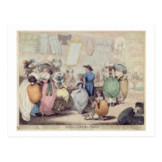 A Milliner's Shop, published in 1787 (hand coloure Postcard