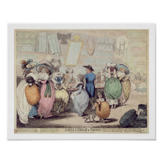 A Milliner's Shop, published in 1787 (hand coloure Poster