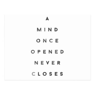 A Mind Once Opened Never Closes Postcard