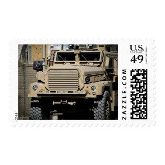 A mine-resistant, ambush-protected vehicle postage