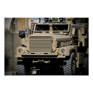 A mine-resistant, ambush-protected vehicle poster