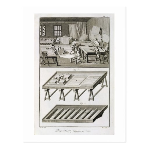 A mirror maker's workshop and tools, from the 'Enc Postcard