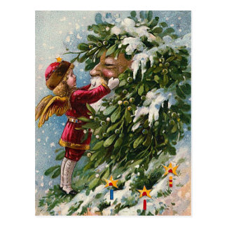 """A Mistletoe Kiss for Santa"" Postcard"